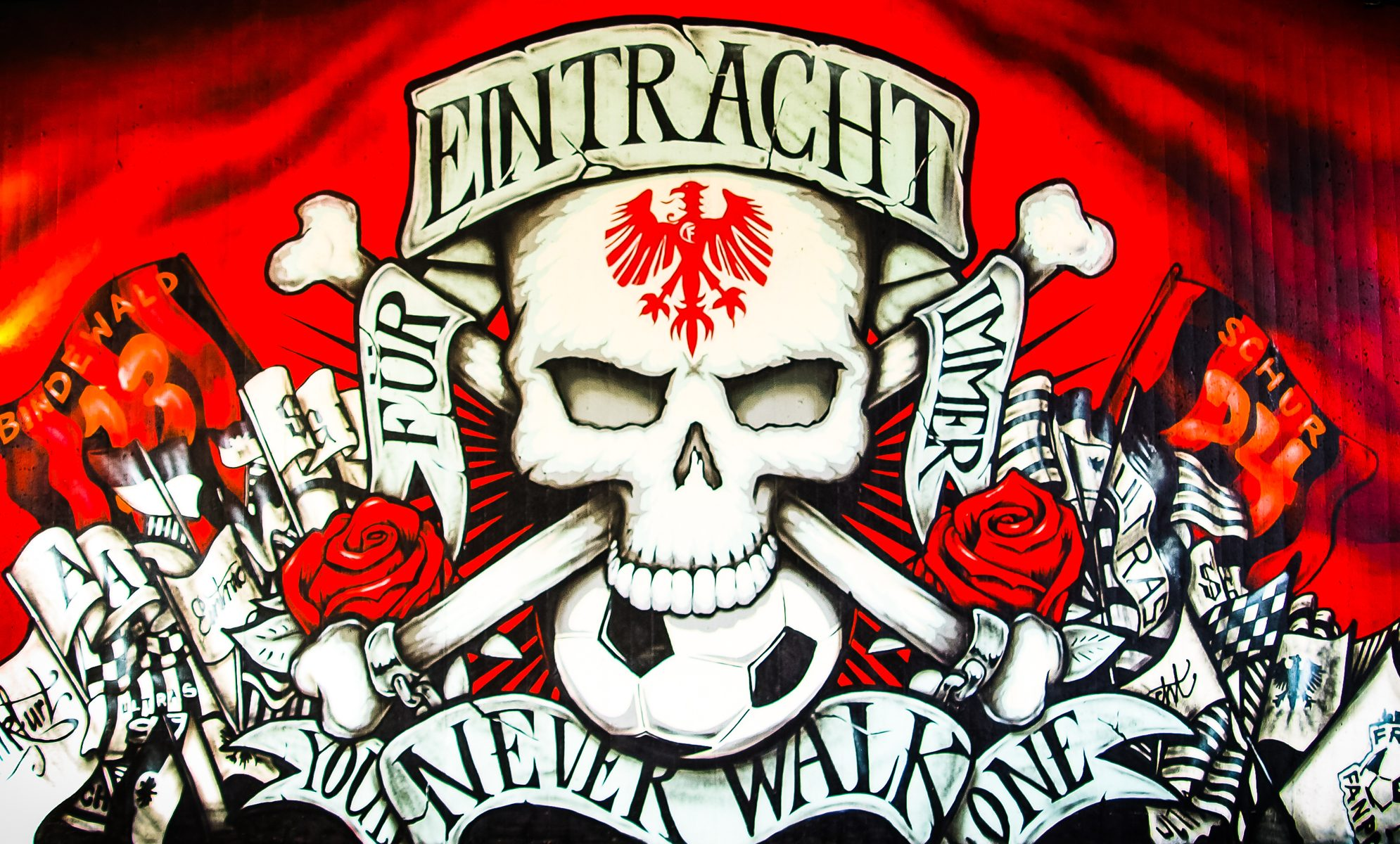 Eintracht Frankfurt Grafitti Bahnunterführung Gleisdreieck @www.highlanderTV.eu
